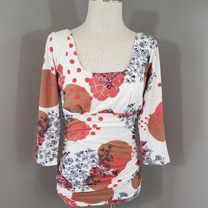 Cabi Womens M Blouse Ruched Floral